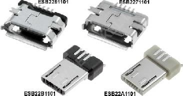 Micro USB-B Printbuchse, 5-pin, vernickelt, SMD