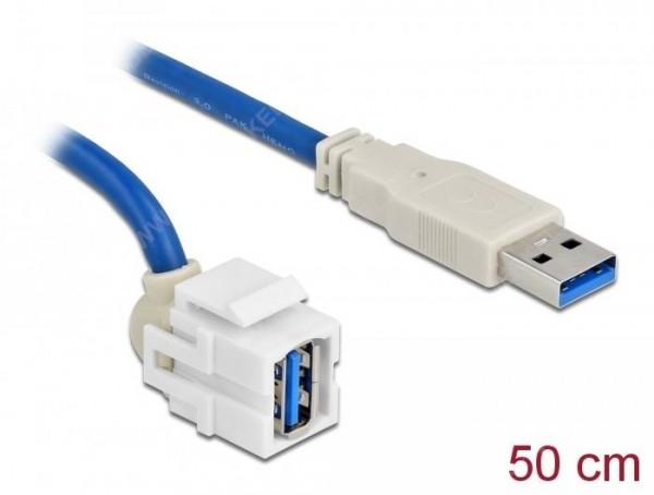 Keystone USB3.0 A 250° ST-BU mit Kabel - weiss