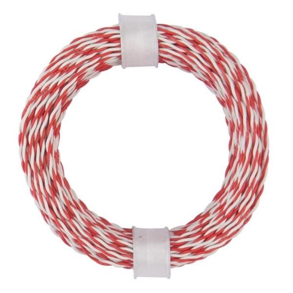 Zwillingslitze, rot - weiß, 2x 0,04mm²...