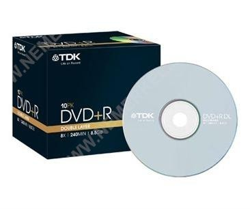 DVD+R DL 8.5GB/240Min/8x Jewelcase (10 Disc), TDK